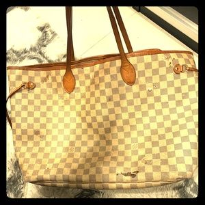 Louis Vuitton Never Full White checkered large bag